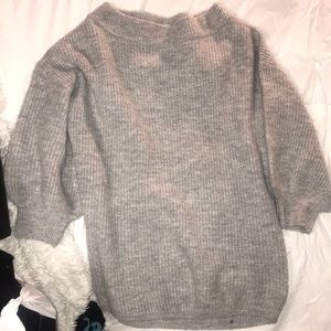 Grey sweater dress off the shoulder or not